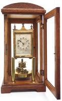 German Gustav Becker for BHA 400-Day Clock With disc pendulum silver & brass dial in Oak Case (5 of 8)