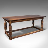 Antique Refectory Table, English, Oak, Dining, Jacobean Revival, Edwardian c.1910