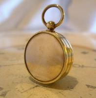 Vintage French Pocket Watch Chain Compass Fob 1940s Chunky Brass Drum Case Fwo (6 of 10)
