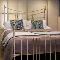 Wide Cast Iron & Brass Antique Bed in Cream (2 of 7)