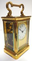Rare Antique French 8-day Carriage Clock Unusual Masked Dial Case with Enamel Dial (2 of 10)