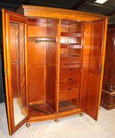 1900s Large 3 Door Satin Walnut Combination Wardrobe (2 of 7)