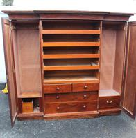 1900s Mahogany 4 Door Breakfront Wardrobe with Slides (4 of 6)