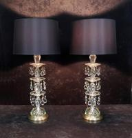 Pair of American Hollywood Regency Mid-Century Crystal Glass Lamps (9 of 9)
