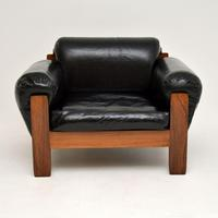 1960's Danish Vintage Leather & Rosewood Armchair (3 of 12)