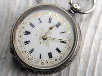 Antique Swiss Silver Women's Pocket Watch, Fancy Case, Fully Hallmarked c.1900 (4 of 10)