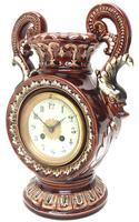 Amazing French 8 Day Majolica Mantle Clock Set Rare Pottery Mantle Clock Set (3 of 11)