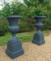 Fine Pair of Cast Iron Campana Garden Urns c.1900