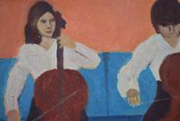Mid Century Oil Painting on Board Three Cellists by Horas Kennedy (3 of 9)