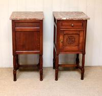 Pair of French Oak Marble Top Bedside Cabinets (8 of 9)