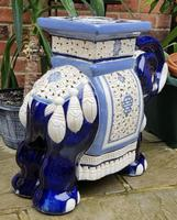 Mid 20th Century French Ceramic Hand-painted Elephant-form Garden Seat (7 of 9)