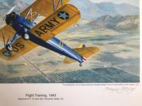 Original lithograph 'Flight training, 1943. Sherman P.T. 15over San Fernando Valley. Ca. By Douglas Ettridge 1927-2009. Signed and numbered 105/500 (2 of 2)