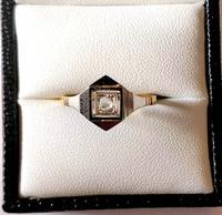 1920s Art Deco Diamond Ring 18ct White Yellow Gold (3 of 8)