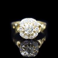 Antique Victorian Old Cut Diamond Cluster 18ct 18K Yellow Gold Ring 1.0ct total (5 of 9)