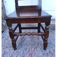 Good 17th Century Oak Hall Chair (4 of 6)