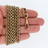 Antique Victorian Long Rolled Gold Guard Muff Chain Necklace (9 of 9)