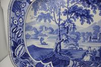 Antique Blue & White Pearlware Parkland Scenery Platter (6 of 12)