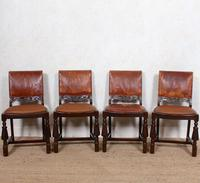 4 Carved Oak Leather Dining Chairs