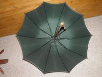 """Antique """"PEERLESS"""" Bottle Green Canopy Umbrella With FOX Frame - 64cm Tall (10 of 13)"""