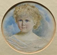 Albany E Howarth ARE Miniature Watercolour Portrait Painting of Little Girl (3 of 11)