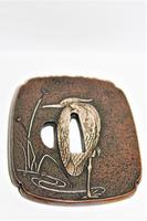 Fine & Heavy Signed Bronze Tsuba Overlaid with a Silver Heron (5 of 7)