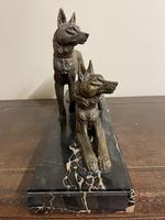 Art Deco Spelter German Shepherd Dogs On Marble Base (5 of 7)