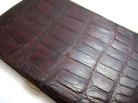 Edwardian Antique Crocodile Skin Leather Wallet Purse Card Stamp Case c.1910 (9 of 9)