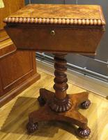 Exceptional Tea Poy Tea Caddy on Stand Burr Walnut (2 of 7)