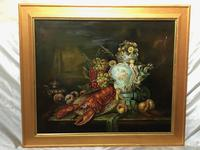 German 20th Century Oil Painting Banquet Red Lobster Serving Tray Peaches Grapes (3 of 23)