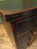 Large Antique Painted Black Bow Front Chest of Drawers, Gothic Shabby Chic (18 of 19)