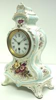 Antique 8 Day Porcelain Mantel Clock Sevres Egg Shell Blue Floral French Mantle Clock (4 of 12)