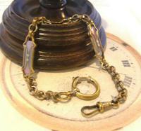 Art Nouveau Pocket Watch Chain 1900 Brass Albert with Pink & Blue Glass Panels (2 of 12)