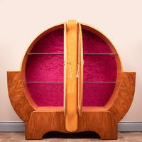 Walnut and Maple Art Deco Display Cabinet (5 of 9)