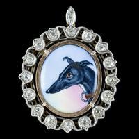 Antique Victorian Diamond Greyhound Locket Pendant Silver c.1870 (2 of 7)