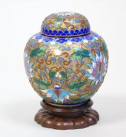 Antique Champleve Cloisonne Lidded Jar on Stand (3 of 7)
