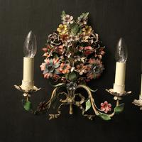 French Pair of Toleware Floral Wall Lights (2 of 10)