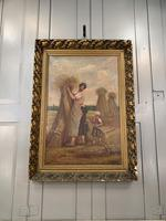 Antique French oil painting landscape harvest scene signed E Cornaud dated 1888 (3 of 10)
