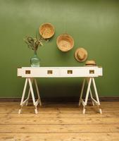 Vintage Scandi Boho White Campaign Style Desk with Trestle Legs (17 of 17)