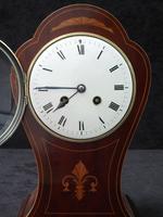 French Art Nouveau Mahogany Inlaid Mantel Clock (6 of 6)
