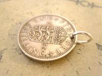 Vintage Pocket Watch Chain Fob 1956 Lucky Silver One Shilling Old 5d Coin Fob (7 of 7)