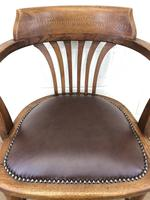 Pair of Early 20th Century Oak & Leather Desk Chairs (7 of 10)