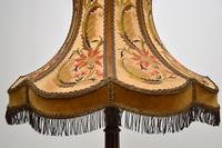 Antique Carved Mahogany Floor Lamp with Needlepoint Shade (5 of 10)