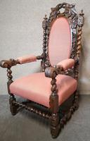 Pair of Victorian Jacobean Style Carved Oak Armchairs (8 of 12)