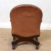 Carved Oak Leather Bucket Sofa & Chair (21 of 24)