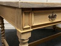 Large Oak 6 Drawer Writing Table (10 of 16)