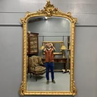 Large French gilt overmantle mirror 185cm (5 of 8)