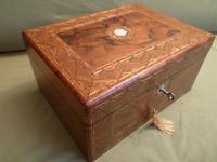 Large Figured Walnut Inlaid Jewellery Box + Tray c.1875 (2 of 12)