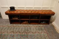 Long Mahogany Chesterfield Hall Seat Shoe Tidy (8 of 8)