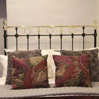 Black Victorian Brass & Iron Bedstead with Brass Circles (6 of 11)