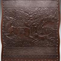 Antique Embossed Fire Screen, Oak, Leather, Fireside, Arts & Crafts, Edwardian (7 of 12)